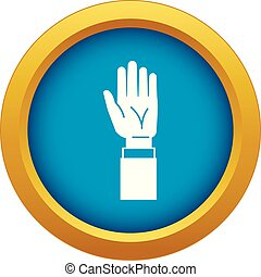 Hands up icon blue vector isolated
