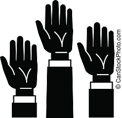 Hands up icon, simple style