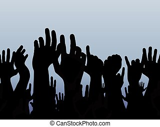 Illustration of lots of people holding their hands in the air