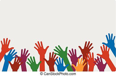 Hands up of different colors