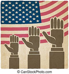 hands up on American flag old background