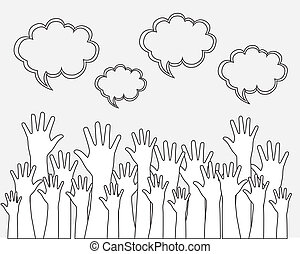 hands up over white background vector illustration