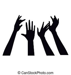 Hands up silhouette - Hands up black silhouette vector...