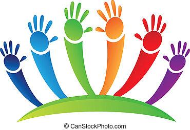 Colored hands up team logo design vector