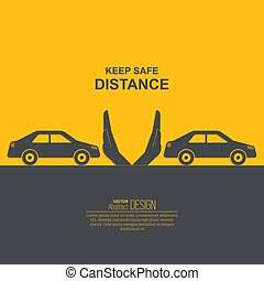 Hands up the distances symbolizing increase between cars. ...