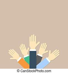 Hands up vector illustration. Flat design