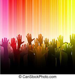 Hands up - Vector illustration of nightclub.