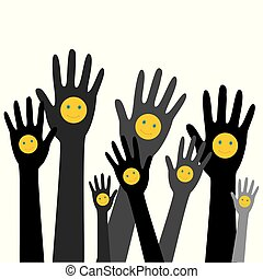 Hands up with smiles