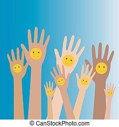 Hands up with smiles3 - Hands up with smiles.Vector...