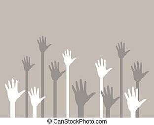 Hands upwards2 - Hands last upwards in a greeting. A vector...