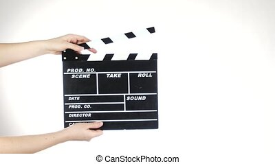 Hands use movie production clapper board, on white