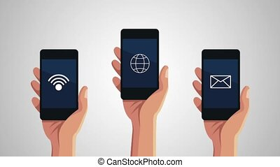 hands users smartphone with menu applications animation...