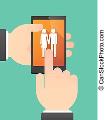 Hands using a phone showing a heterosexual couple pictogram...