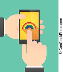 Hands using a phone showing a rainbow