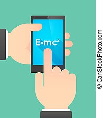 Hands using a phone showing the Theory of Relativity formula