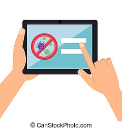 hands using campaign of stop covid 19 in tablet device