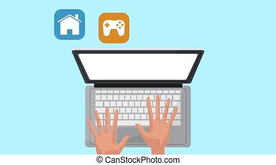hands using laptop with set applications menu animations...