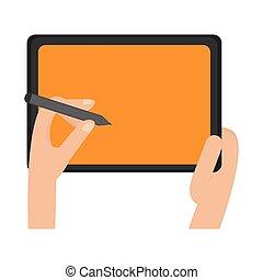 hands using pen on tablet technology symbol