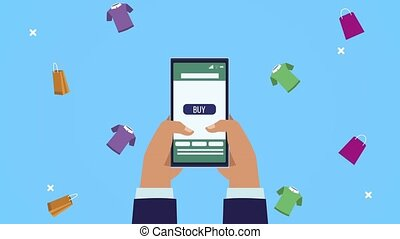 hands using smartphone ecommerce technology ,4k video animated
