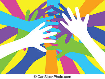 Hands - Vector illustration of colourful hands