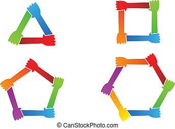 hands., verenigd, conceptueel, symbool