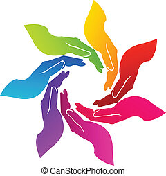 Hands voluntary logo - Hands teamwork united icon vector