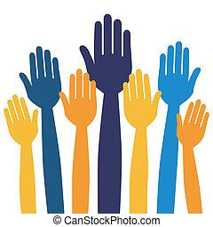 Hands volunteering or voting. - Hands volunteering or voting...