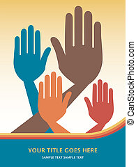 Hands volunteering or voting.