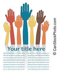 Hands volunteering or voting vector design.