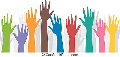 Hands Volunteers Raise - Illustration of a Group of...