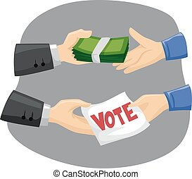 Hands Vote Buying - Illustration of Political Candidates...