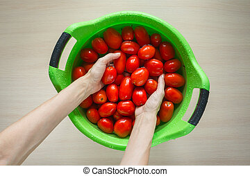 Hands wash tomatoes in a large basin.