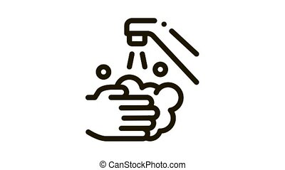 Hands Wash Water Faucet Icon Animation. black Hands Wash Water Faucet animated icon on white background