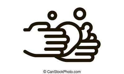 Hands Wash With Soap Icon Animation. black Hands Wash With Soap animated icon on white background