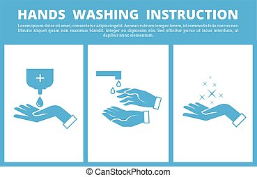 Hands washing medical instruction. Care to hygiene...