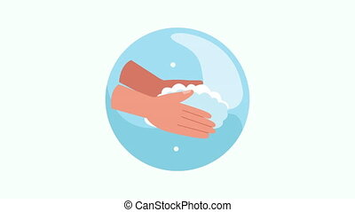 hands washing prevention method animation ,4k video animated