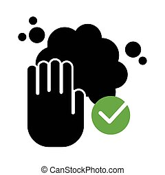 hands washing silhouette style icon