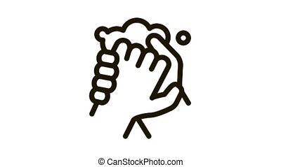 Hands Washing With Soap Icon Animation. black Hands Washing With Soap animated icon on white background