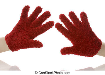 hands wearing red gloves or mittens with reflection on white background