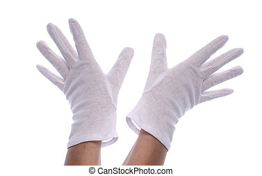white gloves - hands wearing white gloves isolated on white...