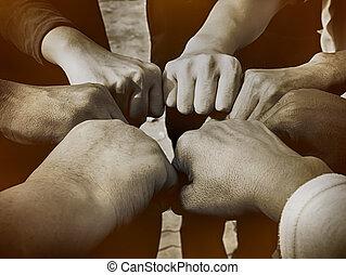 Hands were a collaboration concept of teamwork,teamwork concept