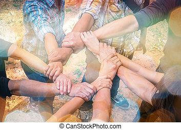 Hands were a collaboration concept of teamwork,teamwork concept,business concept