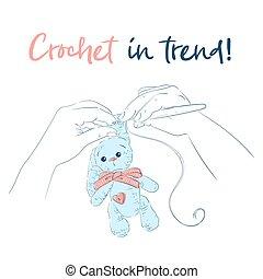 Hands with a crochet hook Bunny. Handmade. Vector illustration