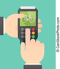 Hands with a dataphone with a bicycle - Illustration of a...