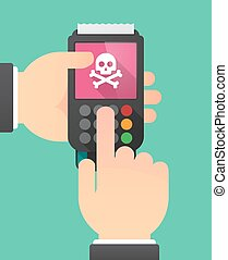 Hands with a dataphone with a skull