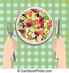 Hands with a knife and fork near a plate of vegetables salad