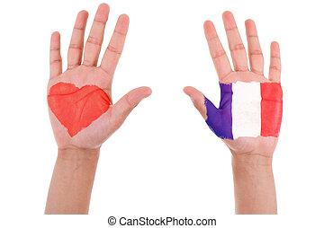 Hands with a painted heart and french flag, i love france...