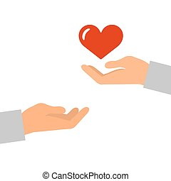 hands with a red heart icon