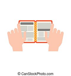 Hands with address book