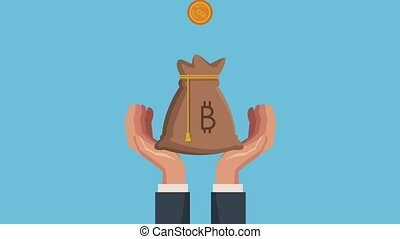 hands with bag bitcoin ecommerce animation illustration...